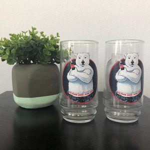 Coca Cola Polar Bear Glasses Cups